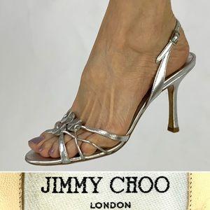 JIMMY CHOO silver strappy slingback heels